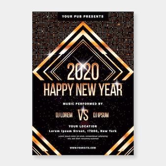 Plantilla plana plantilla de flyer de fiesta de año nuevo
