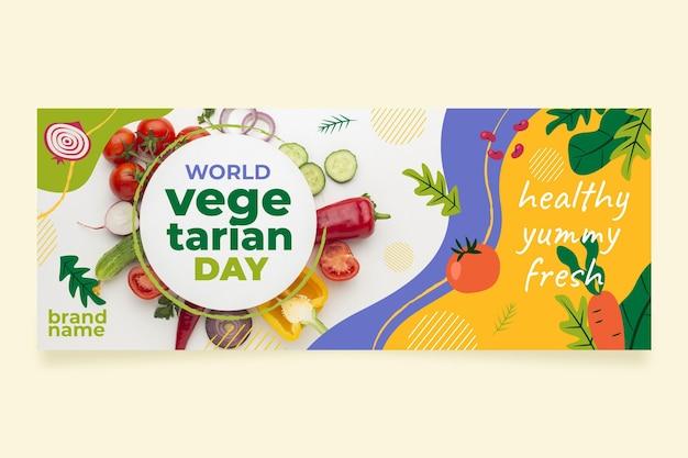 Plantilla plana de portada de redes sociales del día mundial del vegetariano