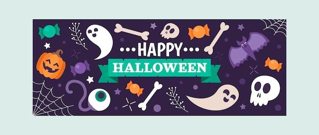 Plantilla plana de portada de redes sociales de halloween