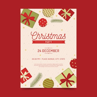 Plantilla plana de póster de fiesta de navidad