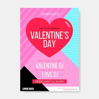 Plantilla plana de póster de fiesta de san valentín