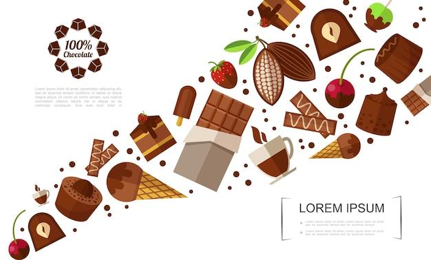 Plantilla plana de productos dulces con barras de chocolate, dulces, helados, tortas, bayas, taza de café, granos de cacao