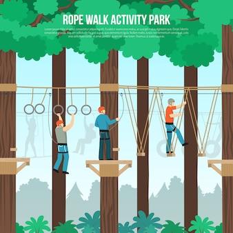 Plantilla plana de rope walk park