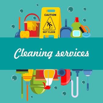 Plantilla plana de servicio de limpieza