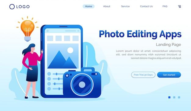 Plantilla plana de sitio web de página de aterrizaje de aplicaciones de edición de fotos