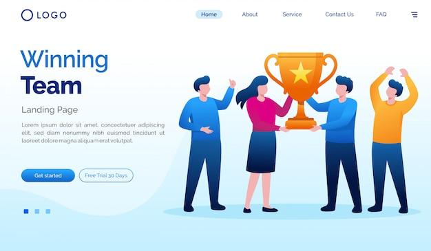 Plantilla plana del sitio web de la página de destino del equipo ganador