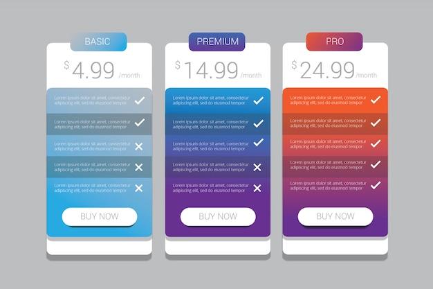 Plantilla de planes de precios coloridos degradados simples para ilustración web o aplicaciones