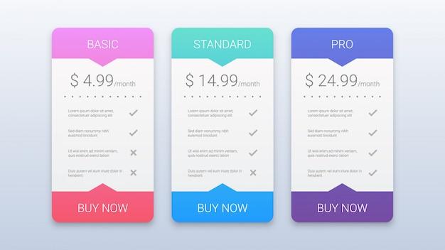 Plantilla de planes de precios coloridos modernos