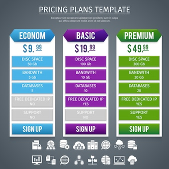 Plantilla de planes de precios de software
