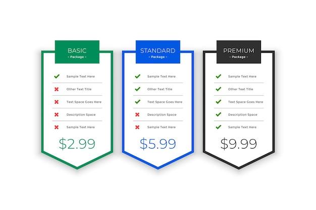 Plantilla de planes y precios para su negocio vector gratuito
