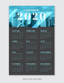 Plantilla de planificador de calendario para 2020.