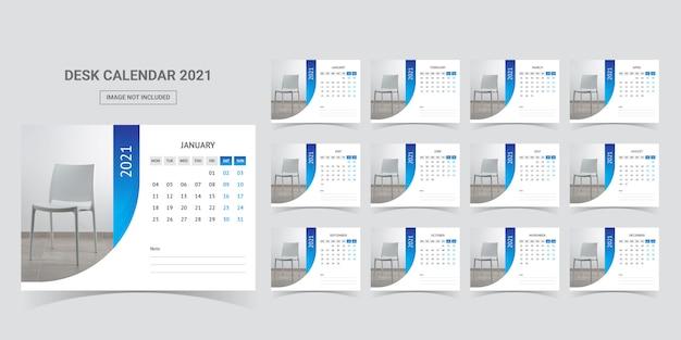 Plantilla de planificador de calendario de escritorio 2021