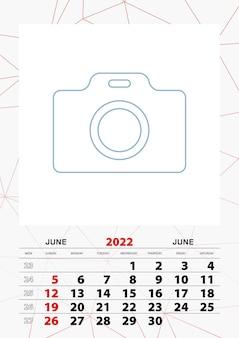 Plantilla de planificador de calendario de pared para junio de 2022, la semana comienza el domingo.