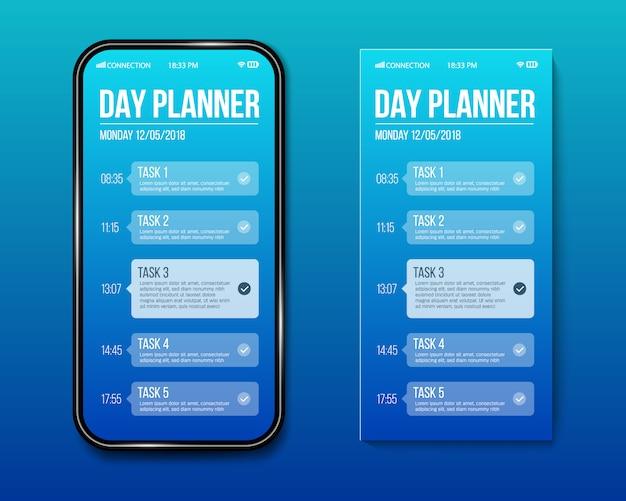 Plantilla de planificador de día de teléfono