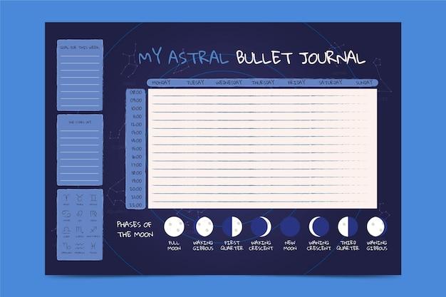 Plantilla de planificador de diario bullet con fases lunares