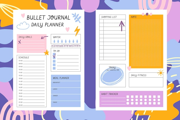 Plantilla de planificador de diario bullet