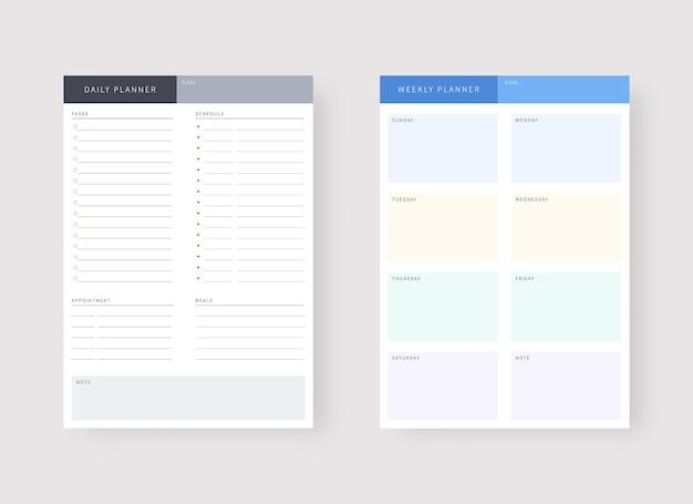 Plantilla de planificador diario y semanal conjunto de planificador y lista de tareas