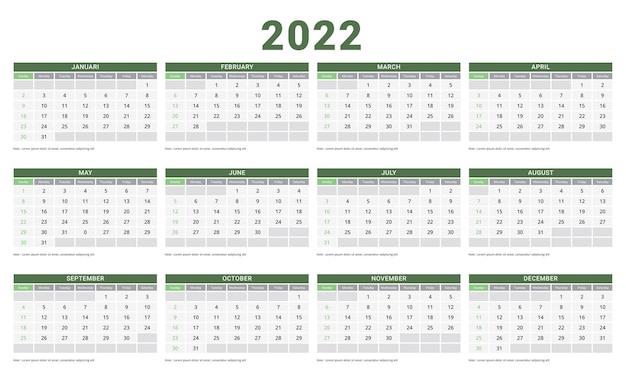 Plantilla de planificador de diseño corporativo de domingo de inicio de semana de calendario 2022