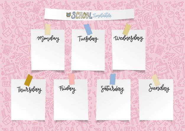 Plantilla de planificador escolar semanal para niñas. organizador y horario con notas adhesivas vacías.