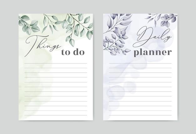 Plantilla de planificador de lista de tareas con fondo de hojas de acuarela