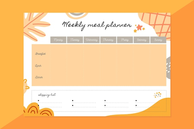 Plantilla de planificador semanal de comidas