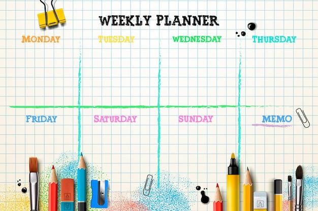 Plantilla de planificador semanal organizador y horario con lugar para la ilustración de memo
