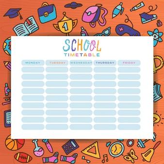 Plantilla de planificador con útiles escolares dibujados a mano. formulario, organizador, lista de tareas pendientes.