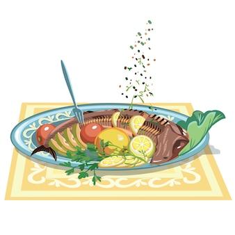 Plantilla de plato de pescado festivo dibujado a mano