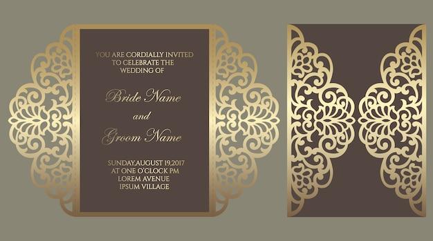 Plantilla de pliegue de puerta de corte láser adornado. diseño de sobre de invitación de boda.