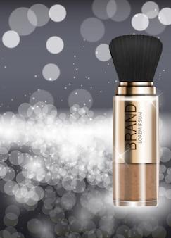 Plantilla de polvo de productos cosméticos de diseño para anuncios o fondo de revista