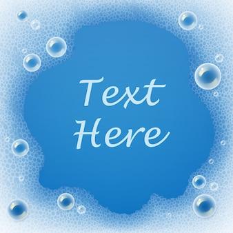 Plantilla de pompas de jabón y espuma para detergente sobre fondo azul con lugar para el texto