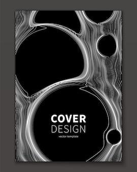 Plantilla de portada abstracta de líneas finas y burbuja