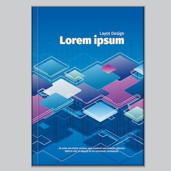 Plantilla de portada abstracta moderna con cuadrados
