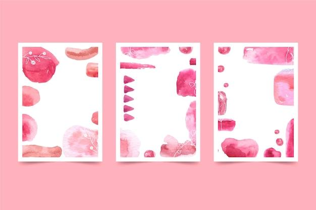 Plantilla de portada de acuarela abstracta de espacio de copia rosa