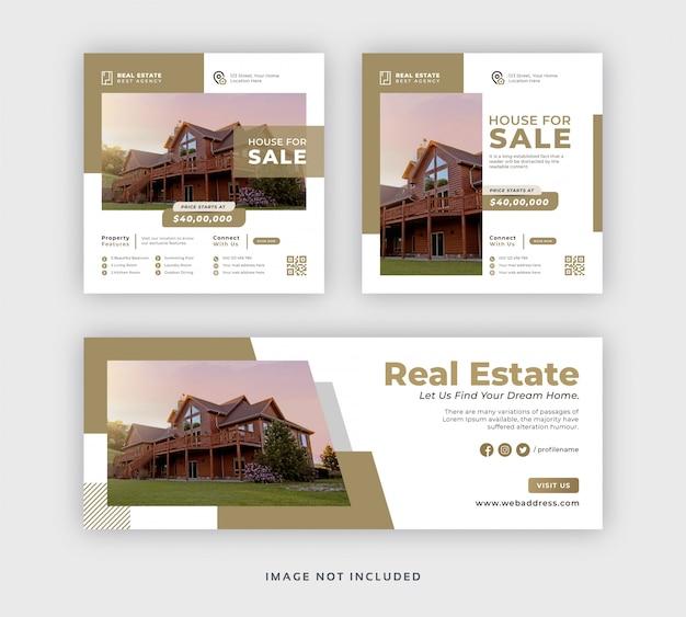 Plantilla de portada de banner de web y publicación de redes sociales de bienes raíces