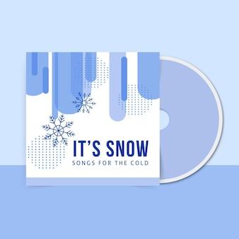 Plantilla de portada de cd de invierno geométrica de un solo color