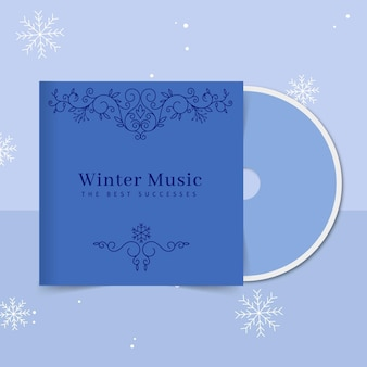 Plantilla de portada de cd de invierno ornamental