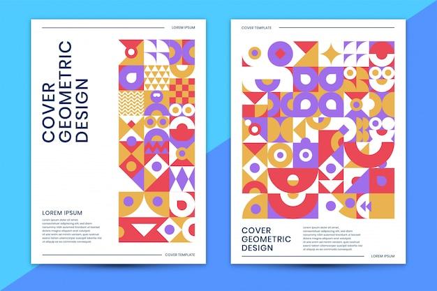 Plantilla de portada con colorido geométrico abstracto
