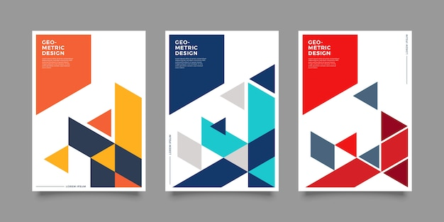 Plantilla de portada de diseño con forma geométrica