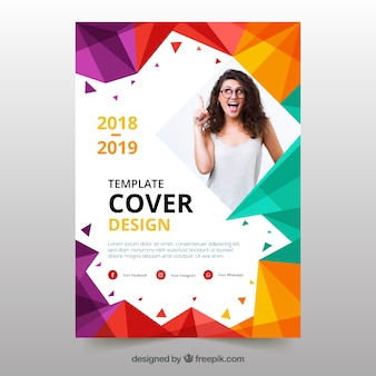 Plantilla de portada con diseño geométrico y foto