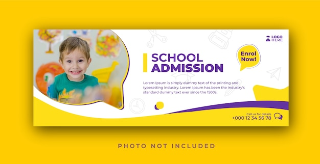 Plantilla de portada de facebook de admisión escolar