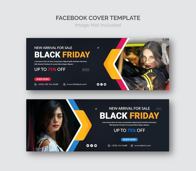 Plantilla de portada de facebook de banner de venta promocional de black friday business.