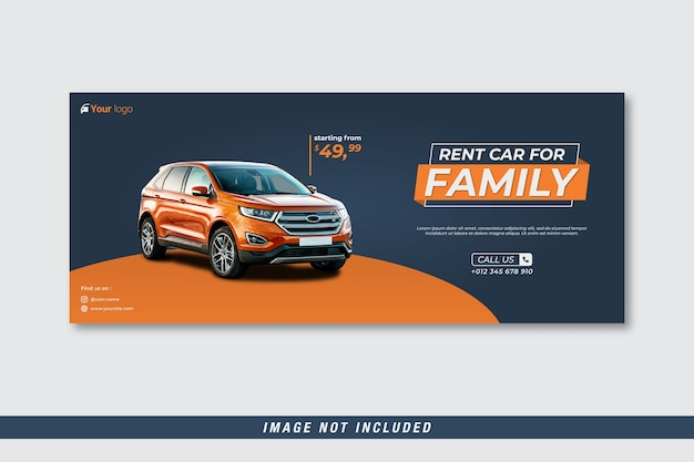 Plantilla de portada de facebook de coche de alquiler para familia