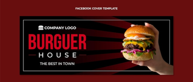 Plantilla de portada de facebook de comida plana