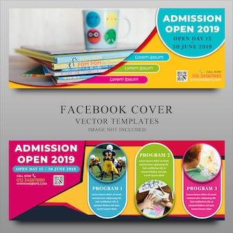 Plantilla de portada de facebook.educación de nuevo a shool design