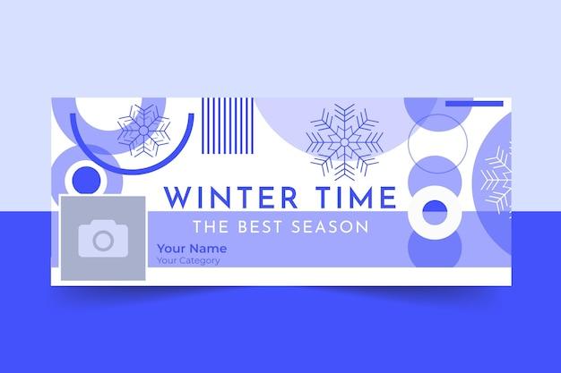 Plantilla de portada de facebook de invierno geométrica de un solo color