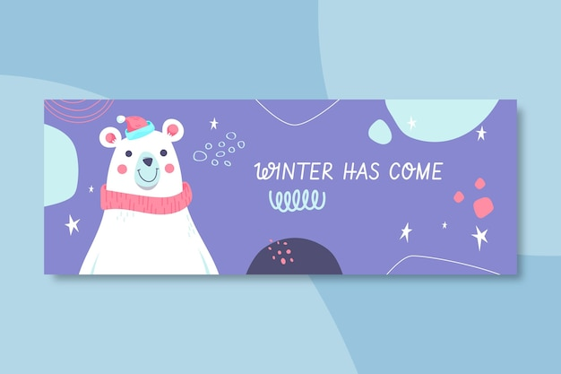 Plantilla de portada de facebook de invierno ilustrada