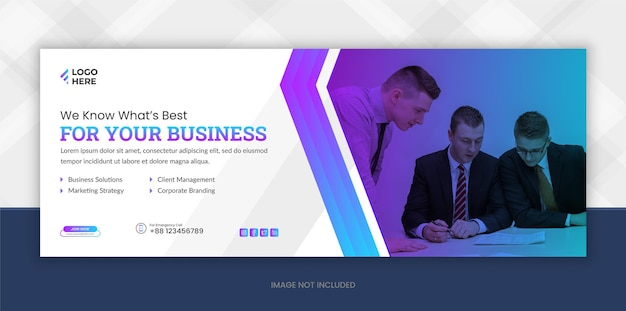 Plantilla de portada de facebook de redes sociales y marketing digital