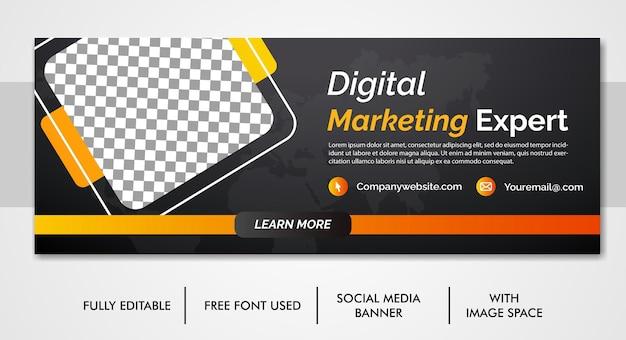 Plantilla de portada de facebook y redes sociales de promoción de marketing de negocios digitales
