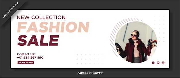 Plantilla de portada de facebook de venta de moda